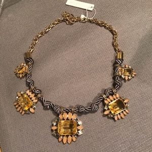 Ann Taylor Necklace Gold Tone and Gray knotted